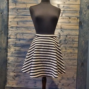 Greylin Striped Twill Skater Circle skirt